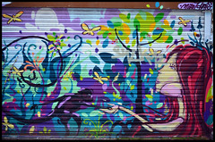 Mural nr. Brick Lane / Milo Tchais (Images George Rex) Tags: uk england urban streetart london nature wall graffiti nikon mural unitedkingdom britain painted wallart redhead jungle gb colourful graffito graff psychedelic bricklane swirling eastlondon towerhamlets hallucinatory ccbysa figurefemale staryard milotchais imagesgeorgerex photobygeorgerex figuremonkey