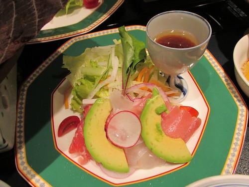 Salade et sashimis, Nagoya, Japon