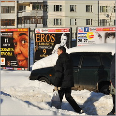Snow (Serivanov22) Tags: life street windows winter sun white snow man home glass look car walking eyes nikon day looking russia walk moscow hometown sunny eros covered memory advert lots evora daytoday lifeinthecity cesaria ramazzotti      nikond90