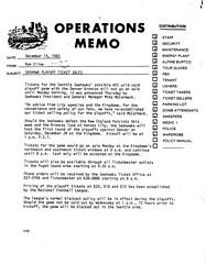 Seahawk playoff ticket sales memo, 1983 (King County, WA) Tags: tickets playoffs seattleseahawks 1980s kingdome denverbroncos newenglandpatriots nationalfootballleague mikemccormack americanfootballconference kingcountyarchives departmentofstadiumadministration