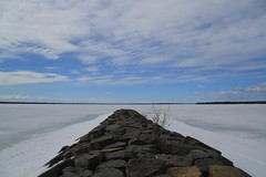 Out there.....where ? (SamSpade...) Tags: canada ice clouds bush rocks quebec perspective where frozenwater ottawariver causeway 1731 outthere 1303 562 frozenland waterbreaker rockypier brittaniapark