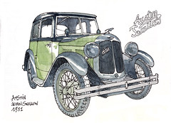 Austin Seven Swallow, 1931 (gerard michel) Tags: auto brussels austin sketch belgium aquarelle watercolour croquis autoworld