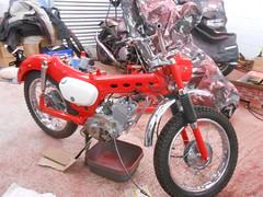 DSCN0506 (Nicola_R) Tags: red classic bike vintage bristol japanese retro motorbike trail chrome 1967 motorcycle restored restoration suzuki enduro bearcat scrambler b105 trailbike b105p vjmc
