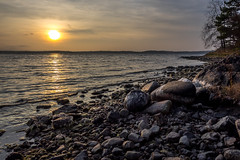 Seaside Sunset (Jens Haggren (off for a while)) Tags: sunset sea sky sun seascape water clouds reflections rocks sweden olympus vrmd em1