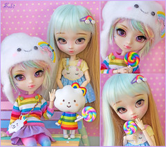 Rainbow girls~* (Suki) Tags: cute rainbow sweet groove pullip pullips poisongirl junplanning pullipcustom missrainbow rakeruspace