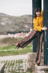 Dangerous Shoes (Roj) Tags: portrait orange woman laughing fun model fashionphotography trousers modelling jumpsuit greatorme platformshoes piller naomirose llandudnowestshore canon5dmkii canonef70200mmf28isiiusm photographersontumblr originalphotographers sourcerojsmithtumblrcom
