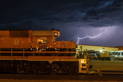 Thunderstuck on the RCPE (shawn_christie1970) Tags: railroad storm weather southdakota us unitedstates pierre lightning thunder wx emd sd402 rcpe hurc rapidcitypierreeasternrailroad rcpe3431