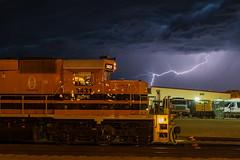 Thunderstuck on the RCPE (shawn_christie1970) Tags: railroad storm weather southdakota us unitedstates pierre lightning thunder wx emd sd402 rcpe hurc rapidcitypierreeasternrailroad rcpe3431