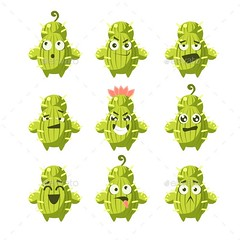 Cartoon Cactus Emoji Set (Flowers & Plants) (hypesol) Tags: cactus plant green smile face smiling female drunk happy crazy funny desert emotion character cartoon sleepy trendy confused dizzy determined doubtful spikes emoticon childish unsure attacking hopeless giggling emoji humanized