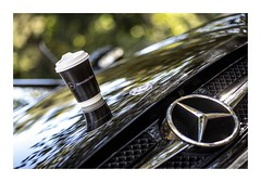 30/100_What's Brewing_La Di Da Latte (red stilletto) Tags: coffee reflections mercedes cafe bokeh badge mercedesbenz whatsbrewing image30100 100xthe2016edition 100x2016