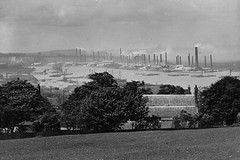 Frindsbury and the River Medway (Tom Burnham) Tags: uk 1920s kent cement rochester medway chimneys barges frindsbury