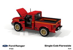 Ford P150 Ranger Flareside SingleCab Pickup (lego911) Tags: auto usa ford car america truck team model ranger lego offroad render 1996 4wd utility pickup ute 1990s cad v6 povray moc ldd p150 miniland flareside lego911
