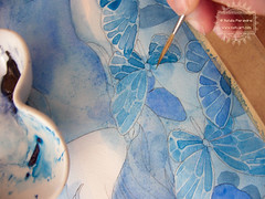 In the Garden of Blue Butterflies - wip3 (The Girl with the Flaxen Hair) Tags: blue illustration garden watercolor painting ooak traditionalart workinprogress butterflies surreal wip etsy lowbrow japanesegirl animegirl animemanga etsyshop natiart inkandwatercolor