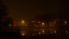 Brouillard dans la nuit (stefanovitch183) Tags: light mist france fog landscape bourges lumire reflet pont paysage nuit brouillard brume