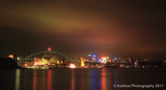 a Colourful Evening of Sydney (kodit0s) Tags: bridge red sky nature water night evening outdoor sydney australia operahouse infra canon450d