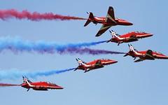 BAe Hawk - Red Arrows @ LSMP (stecker.rene) Tags: canon switzerland flying military smoke jet formation airshow british bae tamron trainer redarrows raf vfr payerne royalairforce baehawk lsmp aerialdisplay flyingdisplay eos7d 150600mm air14 payerne2014 payerne14