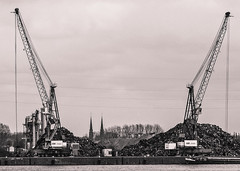 Twotowers and two cranes (1 of 1) (Jan Herremans) Tags: bw church landscape belgium crane recycling janherremans