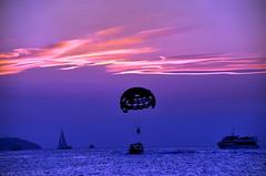 Caf del Mar Parasailing (gerard eder) Tags: world travel sunset sea espaa beach strand atardecer spain europa europe sonnenuntergang playa ibiza parachuting parasailing spanien parachute reise baleares
