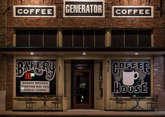 6/365 Generator (Benjamin Ford) Tags: street building coffee architecture night america canon store 85mm garland generator bakery storefront f18 ef 6d
