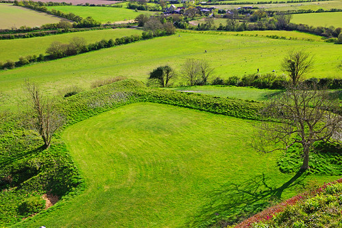 Fields under Carisbrooke Castle walls, Isle of Wight