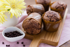 Delicious chocolate muffins with selective focus (yumehana) Tags: wood food brown detail cake closeup breakfast dark paper studio dessert baking wooden colorful sweet chocolate fat cook tasty nobody fresh gourmet delicious homemade cupcake bakery snack treat muffin bake calorie unhealthy chocolatechips cookery ingredient
