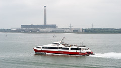 Fawley (cybertect) Tags: sea water ferry boat catamaran powerstation redfunnel fawley thesolent fawleypowerstation redjet4 canonfd135mmf28 sonya7 farmeranddark