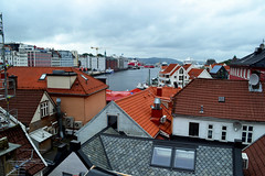 Rooftop (Aline Daguenet) Tags: city friends sky love rooftop geometric students rain norway ferry clouds port hotel design boat hostel europe graphic north terrasse center bergen typical ymca bateau interrail ardoise
