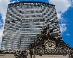 MetLife (Pan Am) Building above Grand Central Terminal, New York City (jag9889) Tags: 2016 20160622 architecture building clock gct grandcentral grandcentralterminal house manhattan metlifebuilding metlife midtown ny nyc newyork newyorkcity outdoor panam parkavenue skyscraper usa unitedstates unitedstatesofamerica jag9889