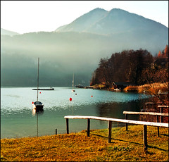Wolfgangsee in dawn (Katarina 2353) Tags: autumn mountain lake alps film landscape austria sterreich nikon wolfgangsee stwolfgang katarinastefanovic katarina2353