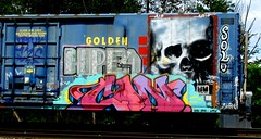 hope4 - solo - con (timetomakethepasta) Tags: hope4 solo con ba nsf arek large aip whistleblower moniker sworn freight train graffiti art boxcar golden west service skull hm ipc