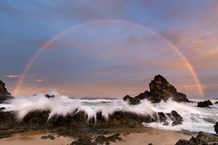 Camel Rock Rainbow 2 || Bermagui {Explore 132, 2016/06/26} (David Marriott - Sydney) Tags: sunset sea seascape water rock rainbow sand au wave australia camel nsw newsouthwales splash wallagalake beragui