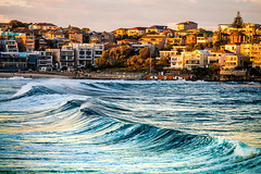 Wave front (silardtoth) Tags: ocean new travel blue houses sunset sea summer vacation seascape beach nature water bondi wales landscape coast sand surf waves south wave australia nsw newsouthwales coogee beachscape