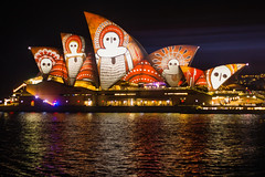 Vivid Sydney 2016 - Opera House (Kokkai Ng) Tags: bennelongpoint red sydneyharbour vividsydney sydneyaustralia australia newsouthwales famousplace night design pattern aborigine aboriginal multicoloured brightlight travel tourism dark horizontal black sydneyoperahouse operahouse sail facade architecture traditionalfestival builtstructure buildingexterior bay water reflection nopeople australianethnicity traditionallyaustralian 2016