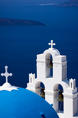 Blue dome and three bells of Fira (Emm Ess) Tags: caldera threebells bluedome thira fira santorini blue aegean greece bells dt55300mm minoltaamount sony slta55v greekorthodox cross