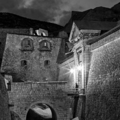 Brianon by night (Michel Couprie) Tags: bridge snow man france alps stone wall night alpes 35mm canon eos gate pierre walker 7d pont porte fortification brianon nuit marcheur homme vauban rempart hautesalpes pignerol