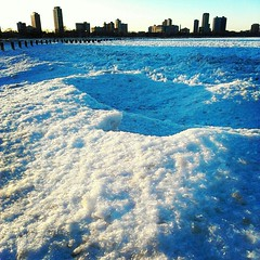 IMG_20130303_212918 (get directly down) Tags: lake snow chicago ice beach michigan north avenue
