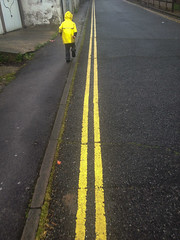 School Run Rituals (The Double Yellow Line Race)_02 (a roving eye) Tags: boy yellow brighton child run doubleyellowlines iphone paulmansfield schoolrun arovingeye