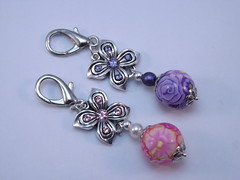 Pink and Purple Purse Charms (polymerclaycreations) Tags: pink purple polymerclay swarovski charms pcagoe polymerclaycreations millefiorifloral angelahickey