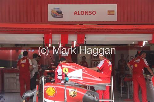 Fernando Alonso's garage at the 2013 Spanish Grand Prix