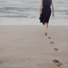 18 :: 31 (sweethardt) Tags: ocean sanfrancisco portrait woman selfportrait black beach female self sand photographer dress little walk footprints skirt bayarea lbd sweethardtphotography ©2013jenniferhardt