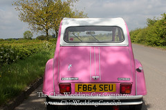 Rosie in the country-3 (magicalnights) Tags: pink wedding car derbyshire 2cv chic weddingcar shabbychicwedding sexyweddingcar 2cvweddingcar