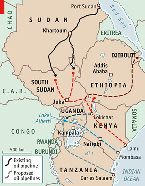 East African proposed oil pipeline. The project would involve the states of South Sudan, Uganda and Kenya. Oil is a major source of speculation in the region.