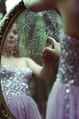 The Other Side ({peace&love}) Tags: water glass girl fairytale mirror drops hand dress princess fairy prom sequins tale pinkparis1233