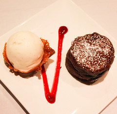 Roy's Classic Melting Hot Chocolate Souffle (PipsqueakPion33r) Tags: hot classic dessert hawaii restaurant melting waikiki chocolate famous gelato fancy raspberry vanilla souffle roys