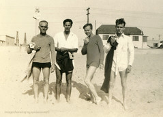 Rapscalions (epiclectic) Tags: ocean summer bw men beach boys vintage found photo others sand photos strangers retro longbeach photograph unknown snapshots southerncalifornia peopleidontknow 1930 foundphotos epiclectic imagenhancingbyepiclecticcom
