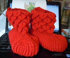 2013 Jul L. slippers Large e-mail view (Bethel of Bethania) Tags: crochet crochetbooties crochetslippers crocodileboots crochetcrocodileslippers