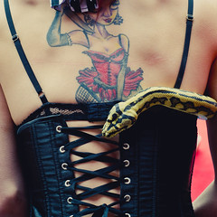 corset, tattoo and the snake.jpg (bigfishbowlhead) Tags: show woman london back snake candid tattoos southbank corset curled python
