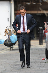 Michael Fassbender (fezfqsdfsdfg) Tags: uk london film navy tie suit slacks actor movieset blazer onlocation filmset onset incostume menssuit michaelfassbender navysuit thecouncelor