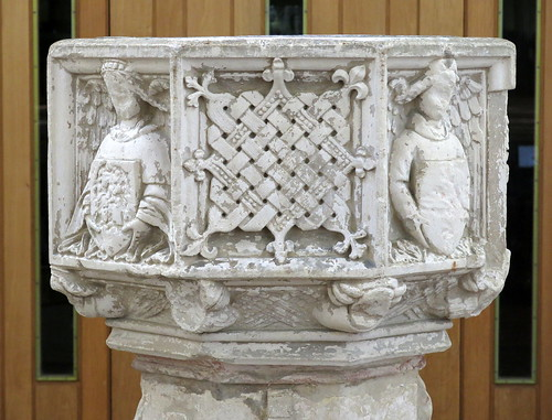 The font (c.1460), the Church of St Mary the Virgin, Earl Stonham, Suffolk, England