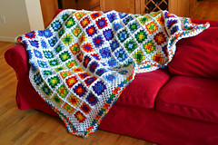 Rainbow Brite Blanket (Claudia Shultz) Tags: home colors diy rainbow bright crochet craft yarn blanket grannysquare 2013